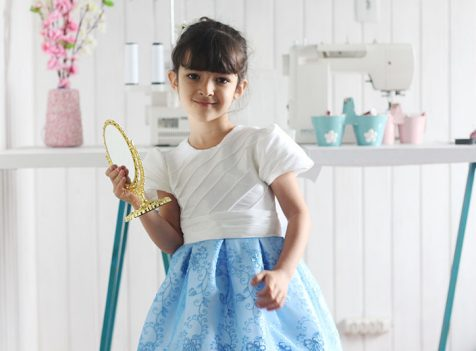 Vestido de festa infantil Diana Demarchi - Azul