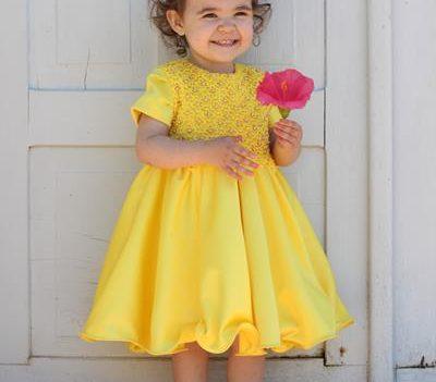 Vestido de festa infantil Diana Demarchi - Amarelo